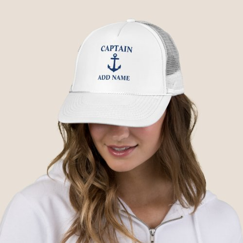 Navy Blue Anchor Captain Add Name or Boat Name Trucker Hat