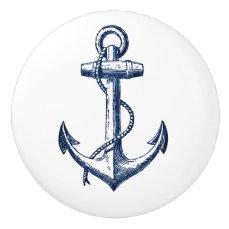 Navy Blue Anchor Ceramic Knob