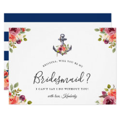 Navy Blue Anchor Floral Will You Be My Bridesmaid Card