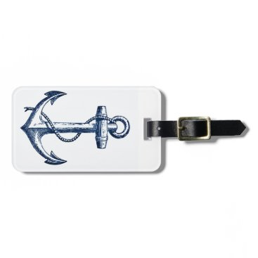 Navy Blue Anchor Luggage Tag