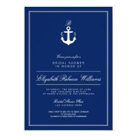Navy Blue Anchor Monogram Bridal Shower Invite