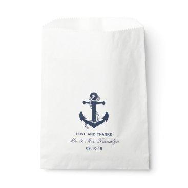 Beach Themed Navy Blue Anchor Nautical Beach Wedding Favor Bag