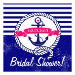 Navy Blue Anchor Nautical Bridal Shower Invitation