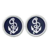 Navy Blue Anchor Nautical Cufflinks