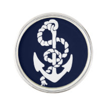 Navy Blue Anchor Nautical Lapel Pin