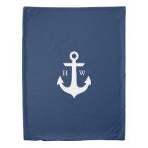 Navy Blue Anchor Nautical Monogram Duvet Cover