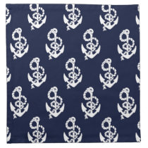 Navy Blue Anchor Nautical Pattern Cloth Napkin