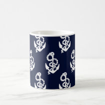 Navy Blue Anchor Nautical Pattern Coffee Mug