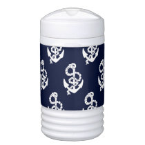 Navy Blue Anchor Nautical Pattern Cooler