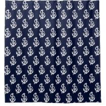 Navy Blue Anchor Nautical pattern Curtain