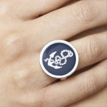 Navy Blue Anchor Nautical Pattern Photo Ring