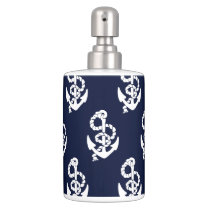 Navy Blue Anchor Nautical Pattern Soap Dispenser And Toothbrush Holder