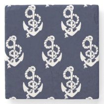 Navy Blue Anchor Nautical Pattern Stone Coaster