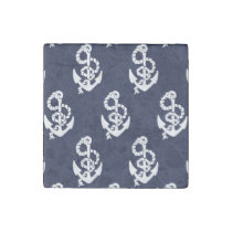 Navy Blue Anchor Nautical Pattern Stone Magnet
