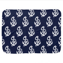 Navy Blue Anchor Nautical Pattern Stroller Blanket
