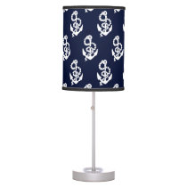 Navy Blue Anchor Nautical Pattern Table Lamp