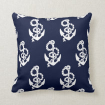 Navy Blue Anchor Nautical Pattern Throw Pillow