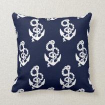 Navy Blue Anchor Nautical Pattern Throw Pillow