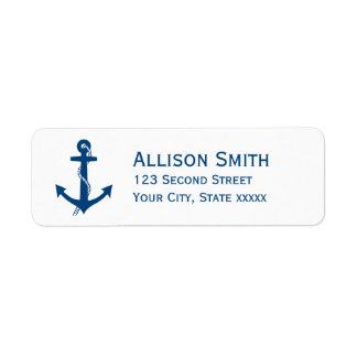 Navy Blue Anchor Nautical Return Address Labels