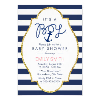 Navy Blue Anchor Nautical Stripes Boy Baby Shower Card