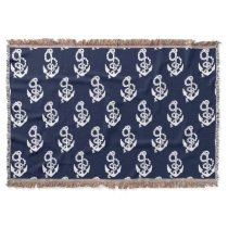 Navy Blue Anchor Nautical Throw Blanket
