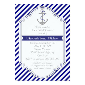 Navy blue anchor nautical wedding bridal shower 5x7 paper invitation card