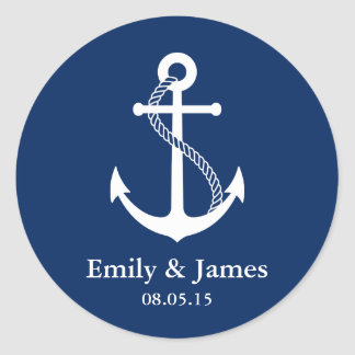 Navy Blue Anchor Nautical Wedding Favor Classic Round Sticker