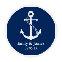 Navy Blue Anchor Nautical Wedding Favor Edible Frosting Rounds
