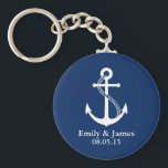 "Navy Blue Anchor Nautical Wedding Favor Keychain<br><div class=""desc"">Simple and minimalist modern nautical design with white anchor on navy blue background.