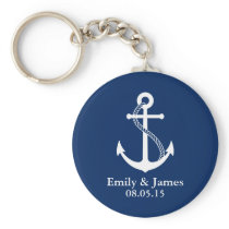 Navy Blue Anchor Nautical Wedding Favor Keychain