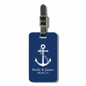 Navy Blue Anchor Nautical Wedding Favor Luggage Tag