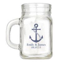 Navy Blue Anchor Nautical Wedding Favor Mason Jar