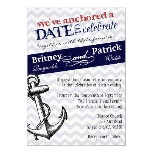 Navy Blue Anchor Nautical Wedding Invitations 5