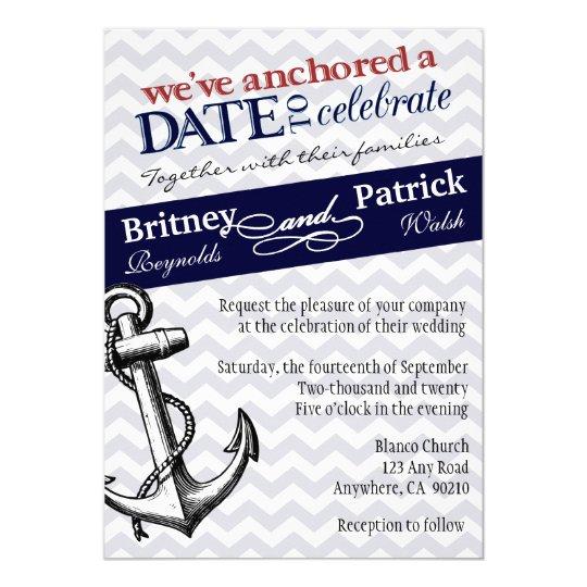 Navy Blue Anchor Nautical Wedding Invitations Zazzle