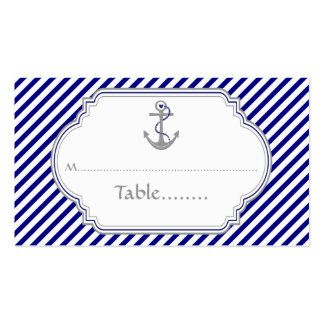 Navy blue anchor nautical wedding place card business card