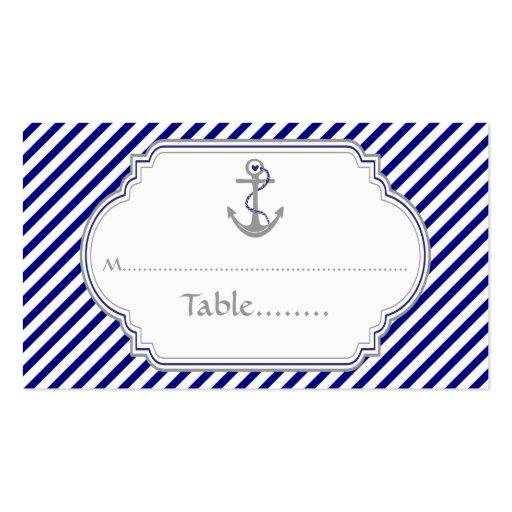 Navy blue anchor nautical wedding place card business card