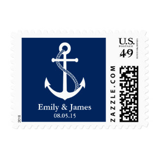 Navy Blue Anchor Nautical Wedding Postage Stamp