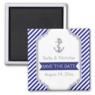 Navy blue anchor nautical wedding Save the Date 2 Inch Square Magnet