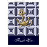 Navy Blue anchor nautical wedding thank you Cards