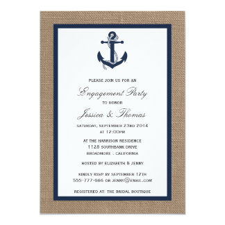 Navy Blue Anchor On Burlap Nautical Engagement Card