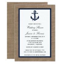 Navy Blue Anchor On Burlap Nautical Wedding Shower Invitation