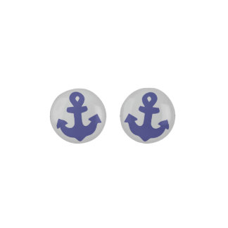 Navy Blue Anchor On Silver Gray Color Background Earrings