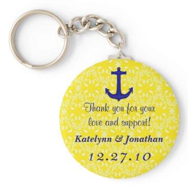 sandpiperwedding Navy Blue Anchor on Yellow Wedding Favor Key Ring