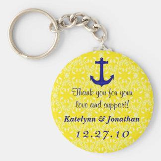 Navy Blue Anchor on Yellow Wedding Favor Key Ring Keychain
