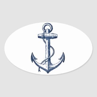 Navy Blue Anchor Oval Sticker