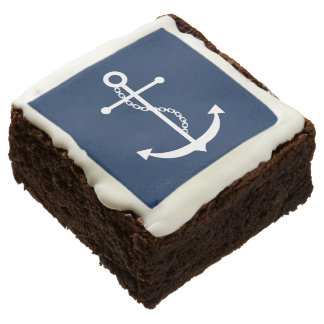 Navy Blue Anchor Square Brownie