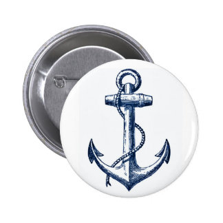 Navy Blue Anchor Pinback Button