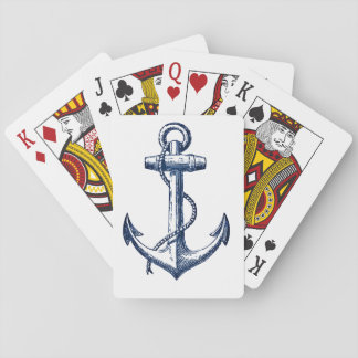 Navy Blue Anchor Poker Cards