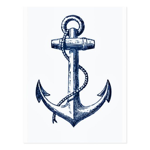 Navy Blue Anchor Postcard