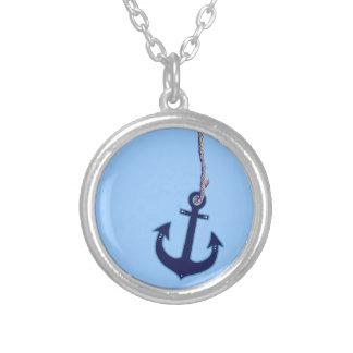 navy blue anchor round pendant necklace